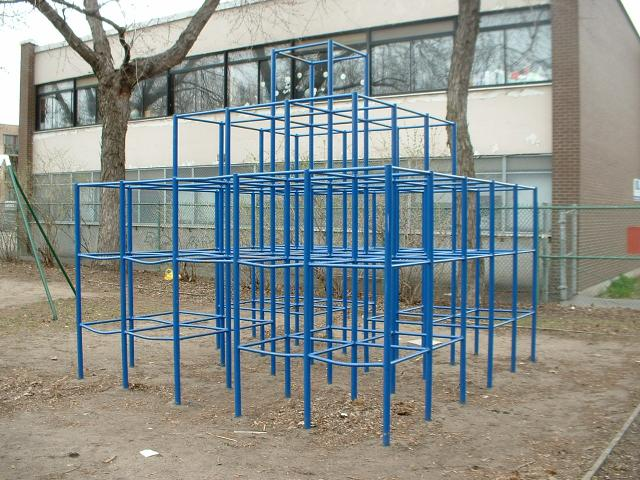 A jungle gym, which is different than a fitness gym where skilled personal trainers and fitness trainers would work and have great fitness resume skills  https://upload.wikimedia.org/wikipedia/commons/4/47/Jungle-gym.jpg