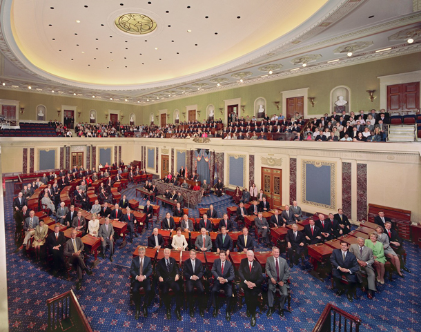 The senate with lots of political aides and political campaign managers with great management and political skills on a resume who helped them all get elected  https://upload.wikimedia.org/wikipedia/commons/a/a6/US_Senate_Session_Chamber.jpg