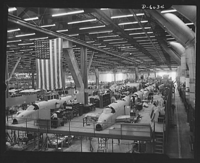 A factory full of hard workers with lots of great examples of hard skills to put on a resume  https://upload.wikimedia.org/wikipedia/commons/c/c3/Ventura_bombers_production_line_%281%29.jpg